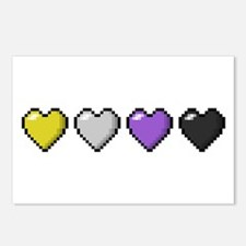 Non-Binary Pixel Hearts Postcards (Package of 8)