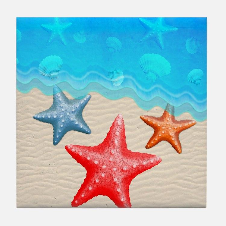 Starfish And Seashells Tile Coaster
