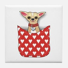 Red Pocket Chihuahua Tile Coaster
