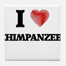 I love Chimpanzees Tile Coaster