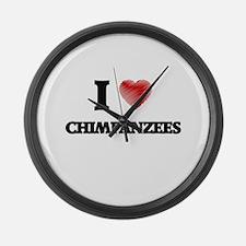 I love Chimpanzees Large Wall Clock
