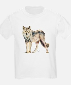 Gray Wolf (Front) Kids T-Shirt