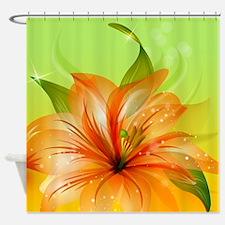 Orange Lily Flower Shower Curtain