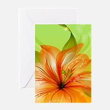 Orange Lily Flower Greeting Cards