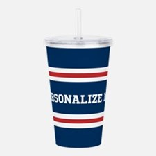 Red and White on Blue Acrylic Double-wall Tumbler