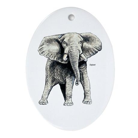 Elephant Oval Ornament