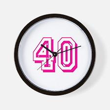 40 Pink Birthday Wall Clock