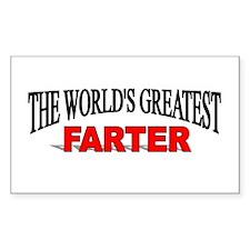 """The World's Greatest Farter"" Sticker (Rectangular"