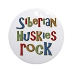 Siberian Huskies Rock Dog Lover Ornament (Round)