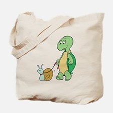 Turtle With Pet Snail Tote Bag