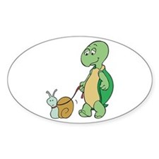 Turtle With Pet Snail Oval Decal