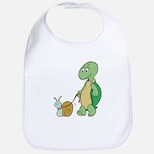 Turtle With Pet Snail Bib