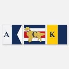 Preppy Dog Golden ACK Signal Flag Bumper Bumper Sticker