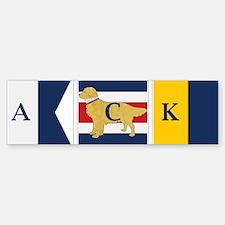 Preppy Dog Golden ACK Signal Flag Sticker (Bumper)