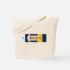 Preppy Dog Golden ACK Signal Flag Tote Bag