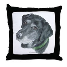 Senior Black Lab Throw Pillow