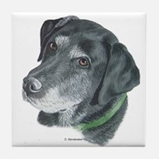 Senior Black Lab Tile Coaster