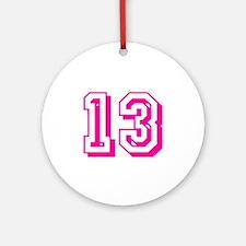 13 Pink Birthday Round Ornament