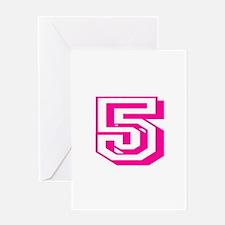 5 Pink Birthday Greeting Card