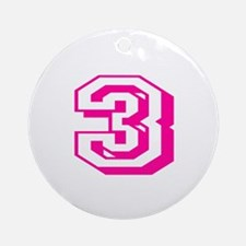 3 Pink Birthday Round Ornament