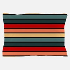 Multicolored Stripes: Red, Peach, Yell Pillow Case