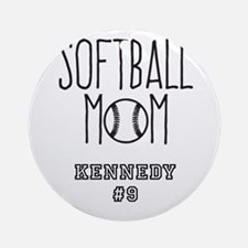 Personalized Softball Mom Round Ornament