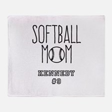 Personalized Softball Mom Throw Blanket