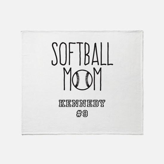 Personalized Softball Mom Throw Blanket