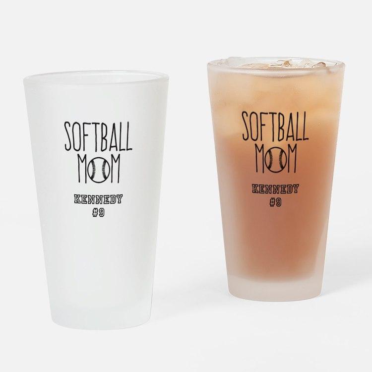 Personalized Softball Mom Drinking Glass