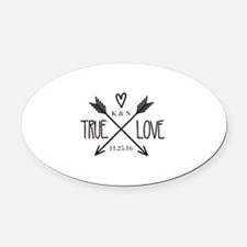 Personalized True Love Arrows Oval Car Magnet