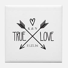 Personalized True Love Arrows Tile Coaster