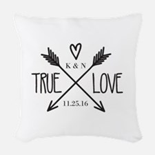 Personalized True Love Arrows Woven Throw Pillow