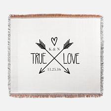 Personalized True Love Arrows Woven Blanket