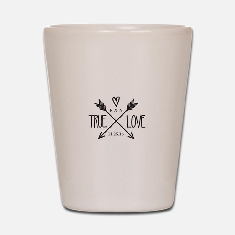 Personalized True Love Arrows Shot Glass