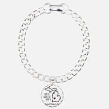 Personalized Michigan Heart Bracelet
