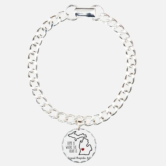 Personalized Michigan Heart Bracelet