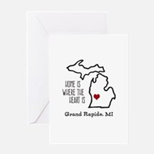 Personalized Michigan Heart Greeting Cards