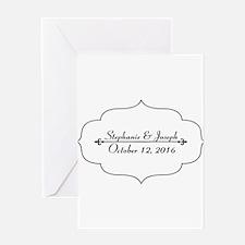 Elegant Wedding Name and Date Custom Greeting Card