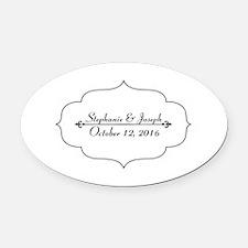 Elegant Wedding Name and Date Custom Oval Car Magn