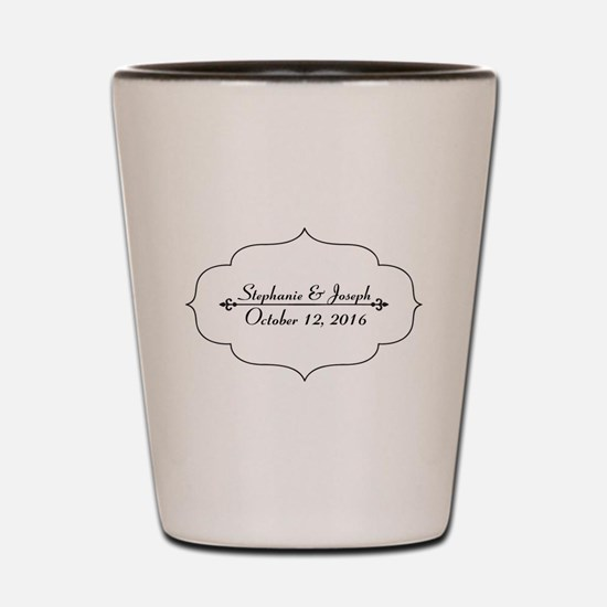 Elegant Wedding Name and Date Custom Shot Glass