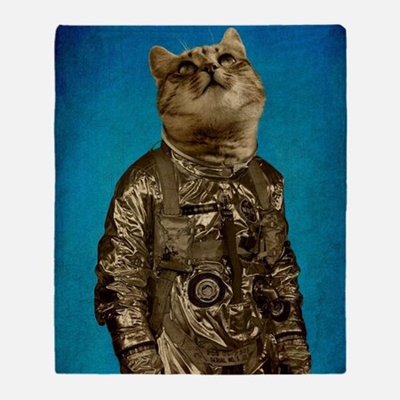 Astronaut Cat Throw Blanket