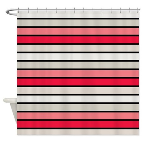 Multicolored Stripes: Red, Pink, Gr Shower Curtain