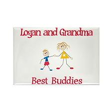 Logan & Grandma - Buddies Rectangle Magnet (100 pa