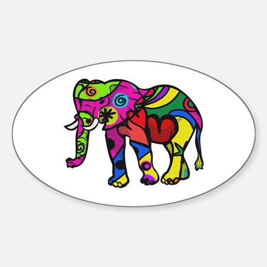 Cute Elephant birthday Sticker (Oval)