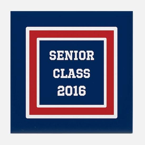 Red White Blue Senior Graduation 2016 Tile Coaster