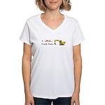 I Love Track Hoes Women's V-Neck T-Shirt