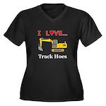 I Love Track Women's Plus Size V-Neck Dark T-Shirt