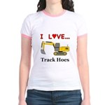 I Love Track Hoes Jr. Ringer T-Shirt