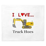 I Love Track Hoes King Duvet