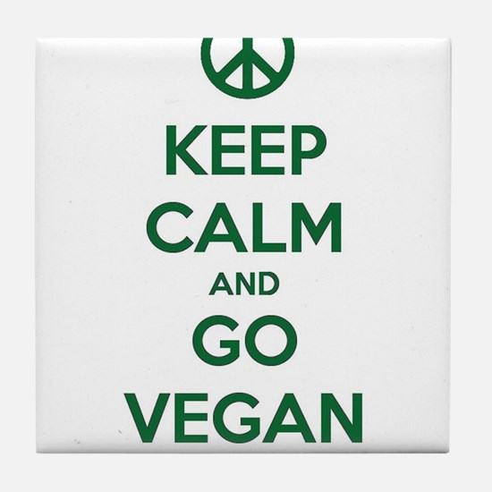 Keep Calm and GO VEGAN Tile Coaster